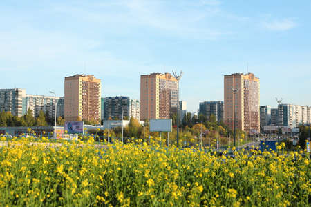 Novosibirsk, RUSSIA-September 20, 2020: urban landscape with a view of the Golden sails residential complex