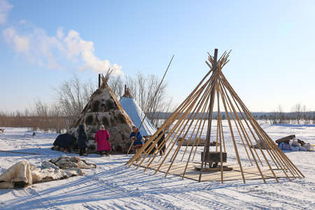 Nadym, RUSSIA-MARCH 11, 2021: Native inhabitants of northern Siberia Nenets reindeer herders collect traditional dwellings Editorial