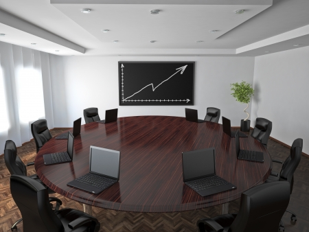 seating furniture: Conference room in office with modern decoration.