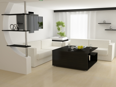 Modern house,living-room with the modern furniture 3d