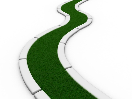 dream land: Road from grass on white. Isolated 3D image