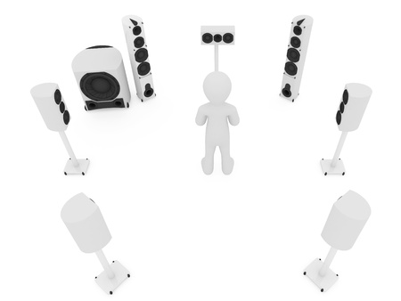 Modern acoustic systems isolated on the white
