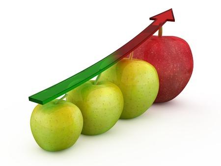 Four 3d apple fruit in different colours