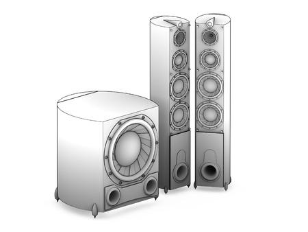 acoustics: 3D Audio acoustics system HI-FI Stock Photo