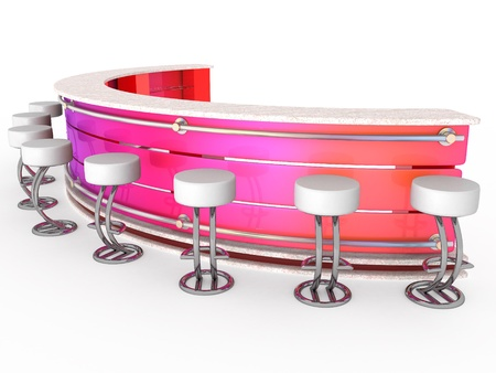 3d Interior of fashionable bar with cafeteria chairs