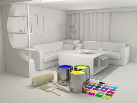 home renovations: Cans of paint and a roller in the room Stock Photo