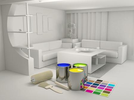 Les boîtes de peinture et un rouleau dans la chambre Banque d'images