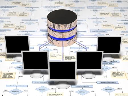 dataflow: base de datos en blanco y negro y amarillo sobre un fondo blanco realizada en materiales reflectantes Foto de archivo