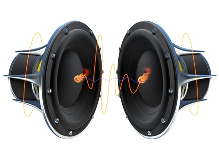 emitting: 3d illustration of a simple audio speaker sitting on a dark surface with glowing orange sound waves emitting from it