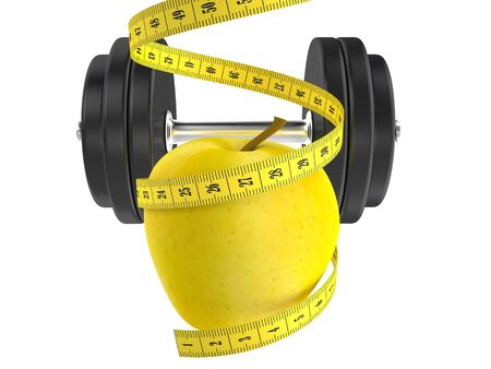 diet concept, apple and measuring tape 3d