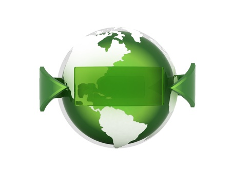 Green earth and arrow - computer render Standard-Bild