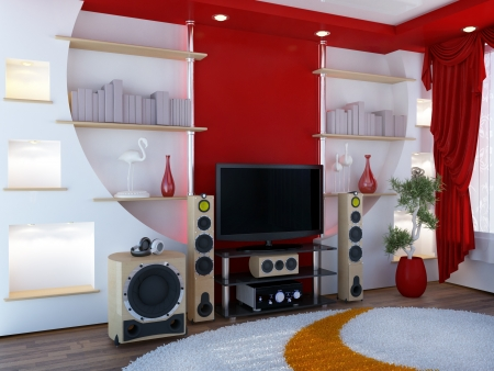 home audio: Interior with a home theater -  digital artwork