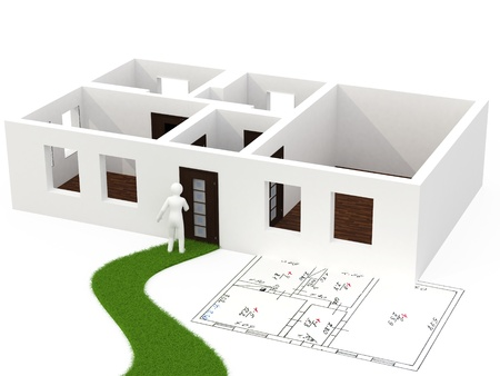 3d person with house isolated on white