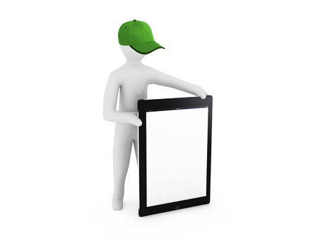 3D man holding a blank tablet pc  Advertising concept