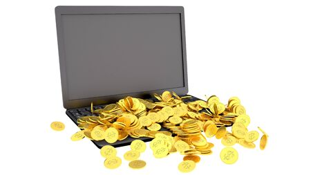e money: Laptop and coins, earning money concept