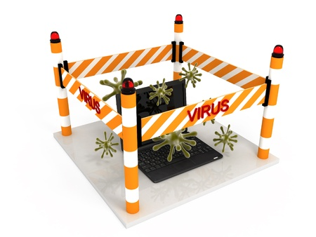 Attack virus on laptop, abstract  done in 3d Stock Photo