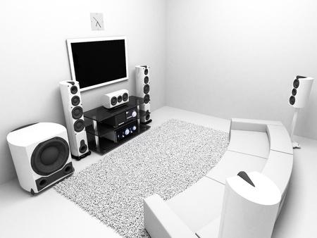 sonido: La sala con sistema de audio de gama alta TV Foto de archivo