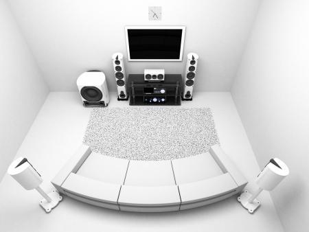 equipo de sonido: La habitación con una alta gama de sistema de audio del televisor