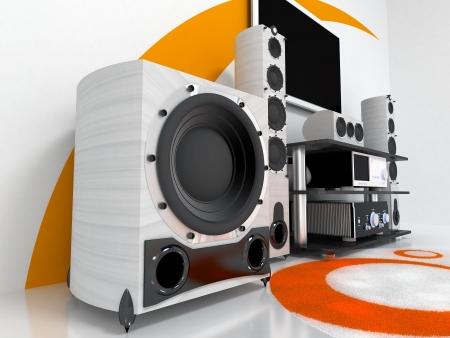 equipo de sonido: La sala con sistema de audio de gama alta TV Foto de archivo