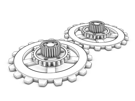 3d gear isolated on white background