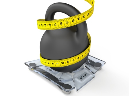 diet concept, weight on the scales 3D Stock Photo