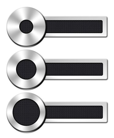 collection chrome button with a black metal mesh on white background Standard-Bild