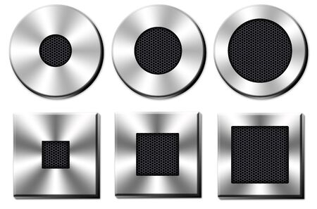 collection chrome button with a black metal mesh on white background Stock Photo
