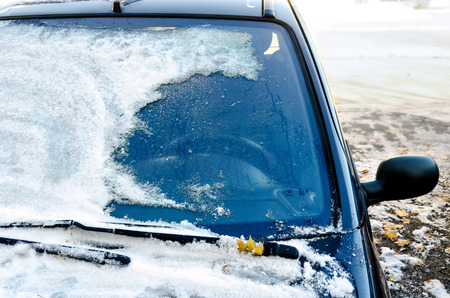 Close-up of snow-covered car windscreen Stock Photo