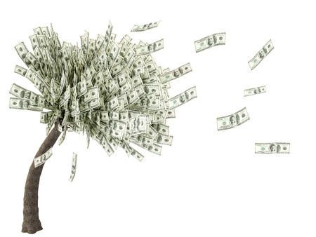 money savings: tree with leaves falling dollar 3d illustration
