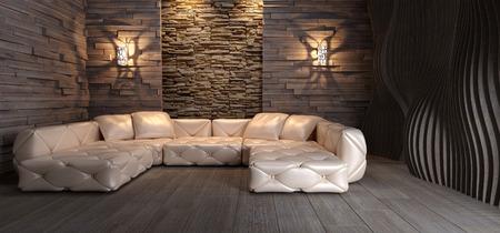 Sala de estar contemporánea interior. Las 3D Foto de archivo