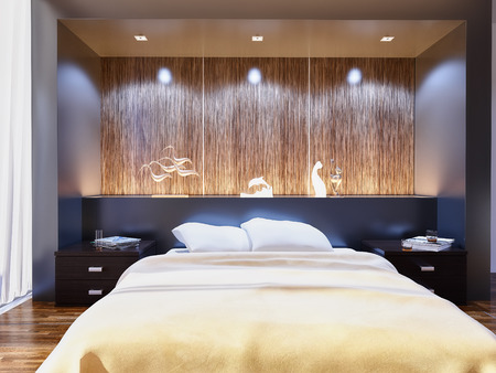 modern style bedroom interior 3d rendering Standard-Bild
