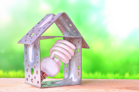 Light bulb with a house standing inside in green field. Eco technology and energy concept.