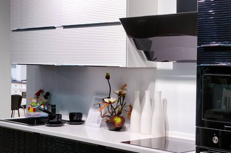 View of stylish kitchen in modern house Stock Photo