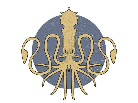 Template for logo, label and emblem with octopus silhouette. Light on a circle. Vettoriali