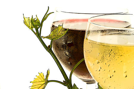 Farded red and white glass wine Stock Photo - 3621570