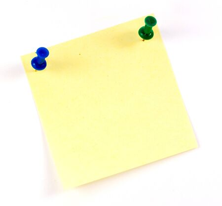 yellow tacks: Yellow sticker note isolated on the white background  Stock Photo