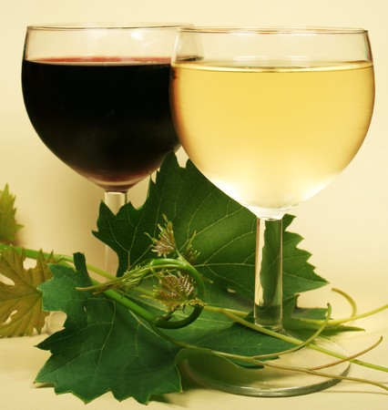 Red and white glass wine photo