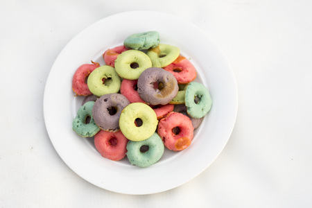 Color donuts in white background Stock Photo
