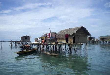 stilts: Sea gypsies houses on stilts in Semporna, Sabah, Borneo, Malaysia.