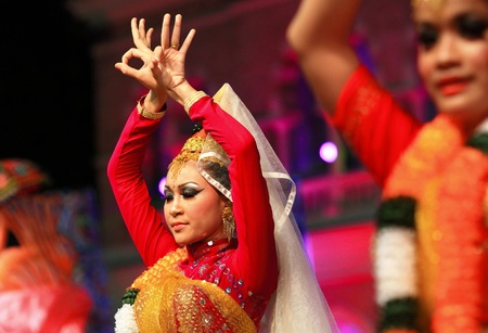 KUALA LUMPUR, MALAYSIA - MAY 21 : Participant performing a tradisional indian dance during the rehearsal of Colours of Malaysia Festival May 21, 2010 in Kuala Lumpur Malaysia.