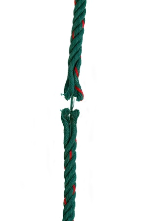 critical conditions: rope about to break isolated over white background