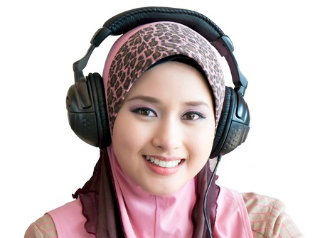 femmes muslim: portrait femme musulmane avec un casque Banque d'images
