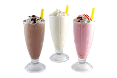 fruit shake: iced blended chocolate, banana and strawberry Stock Photo