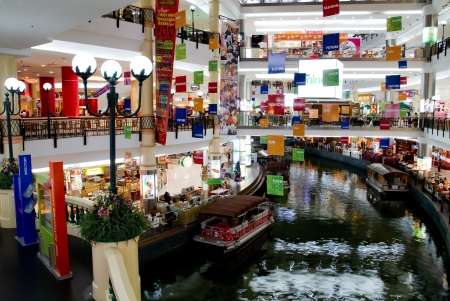 KUALA LUMPUR - DISEMBER 10: Interior of The Mines Shopping Fair on Disember 10, 2010 in Kuala Lumpur, Malaysia. This shopping mall is different from the rest of the malls in the country in that there is a canal that runs right into the complex