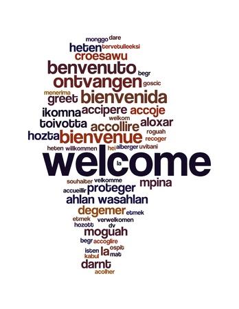 bienvenidos: Wordcloud concepto de fondo ilustraci�n de bienvenida diferentes idiomas