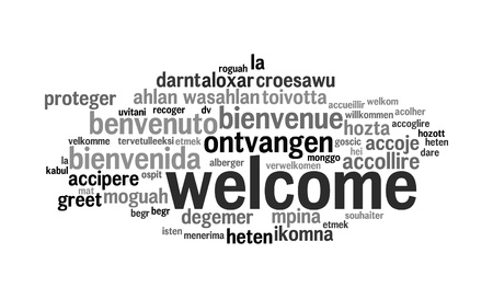 tags cloud:  Background concept wordcloud illustration of welcome different languages