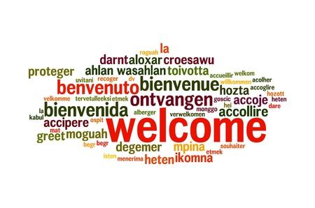 bienvenida: Wordcloud concepto de fondo ilustraci�n de bienvenida diferentes idiomas