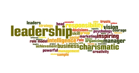 powerful creativity: Background concept word cloud illustration of leadership