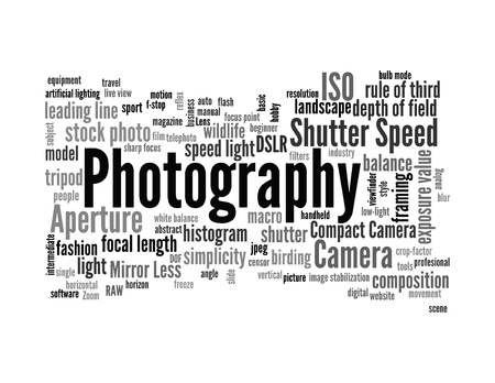 Background concept word cloud illustration of photography  Stock Photo