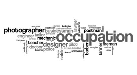 various occupation  info-text graphics and arrangement concept on white background (word clouds) Stock Photo - 11263088